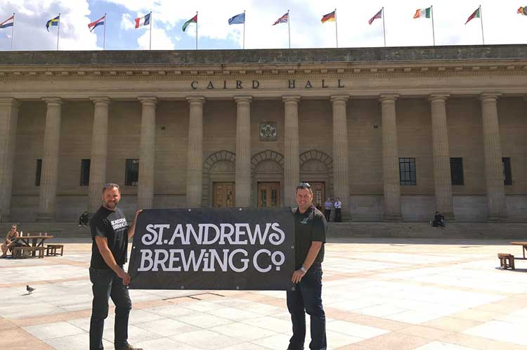 Tim Butler and Phil Mackey of St Andrews Brewing Co. outside Dundee's Caird Hall