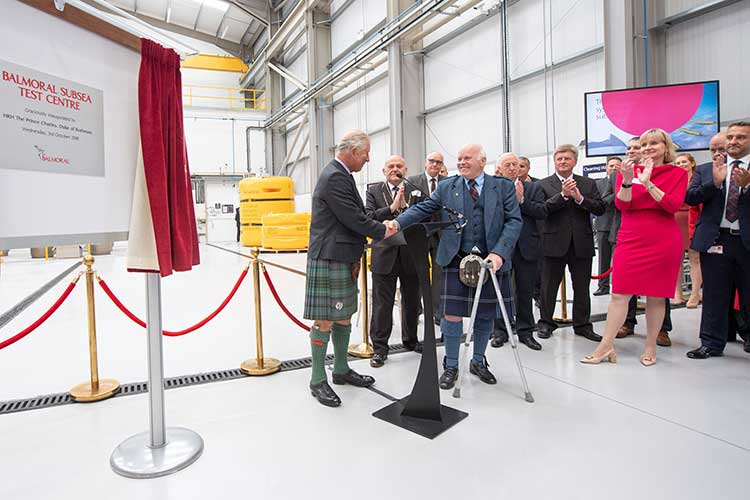Prince Charles officially opens the Balmoral Subsea Test Centre with Jim Milne
