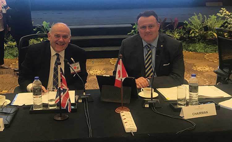 (L-R): The Lord Provost of Aberdeen Barney Crockett and Mayor of Halifax Mike Savage at the WECP today in Kuala Lumpur, Malaysia.