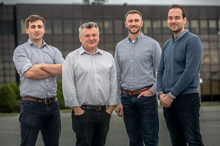 (left to right) Douglas Hitchcock, Design Engineer; Craig Feherty, CEO; Kevin Rose, Applications Engineer; Mark Burton, Operations Manager at Well-SENSE