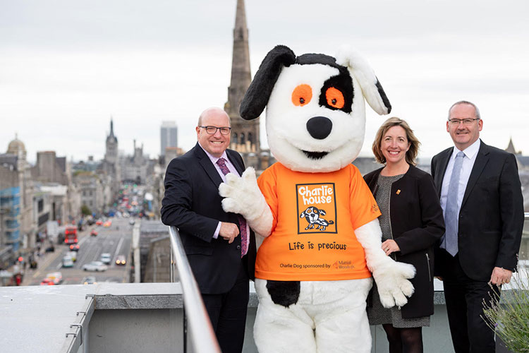 left to right – Bob Keiller - local entrepreneur, Susan Crighton - Director of fundraising for Charlie House and Campbell Urquhart – local businessman, launch Venture 2019 – a charity fundraising campaign for Charlie House.