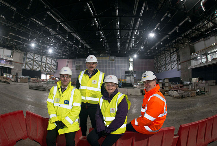 L-R Nick Harris, Director Henry Boot Development, ACC Co-Leaders Councillor Douglas Lumsden and Councillor Jenny Laing, and Alistair Broadley, Robertson's AECC Project manager.