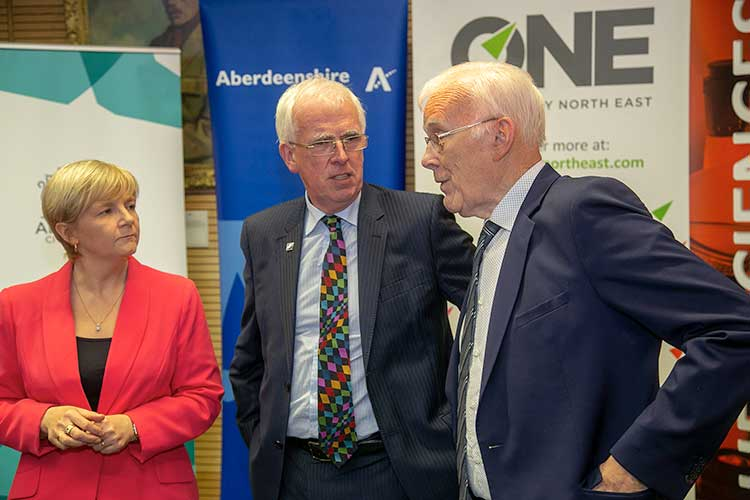 Aberdeen City Region Deal partners Cllr Jenny Laing, Cllr Jim Gifford and Sir Ian Wood KT GBE at the launch of the £40m innovation hub project for life sciences that has secured £20m of capital funding from the UK and Scottish Governments via the Deal.