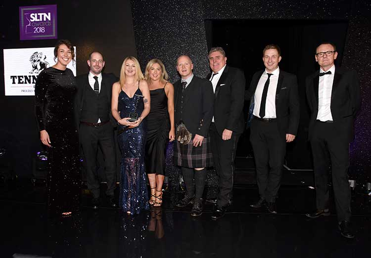 (L to R): The Silver Darling team celebrating the award win with host Sean Lock and Clara Shand of category sponsor, Tennents
