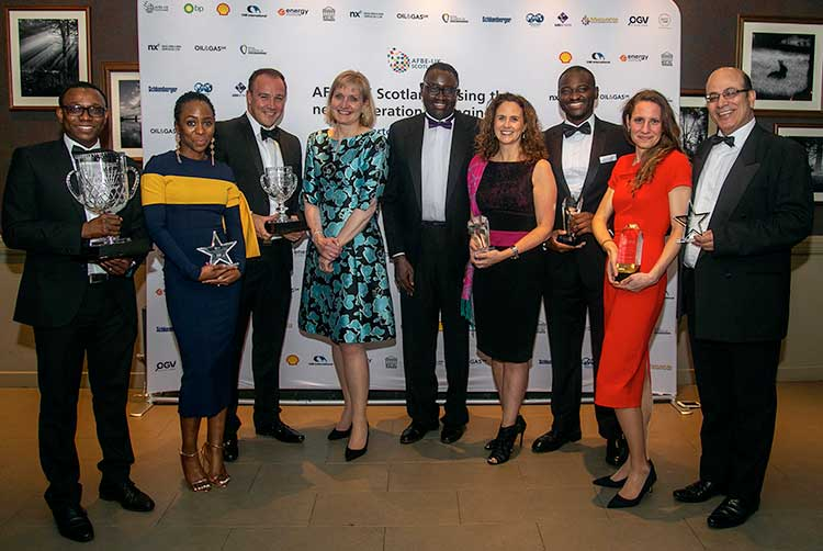 From left - Adam Ayinla (Shell), Mopelola Oyetunji (CAN Offshore), Findlay Anderson (BHGE), Deirdre Michie, CEO Oil and Gas UK, Dr Ollie Folayan, AFBE-UK Scotland, Claire Hayward BP, Samuel Elegbede WSP, Sarah Weihmann, Azzam Younes ABB