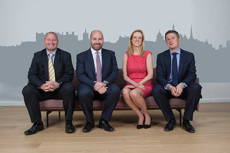 (from L to R): Ricky Cowan, Business Development Director; Graeme Allan, Managing Partner; Lyn Calder, Corporate Finance Partner – Head of Deals, Central Belt; Fraser Porter, CEO of AAB Wealth Ltd