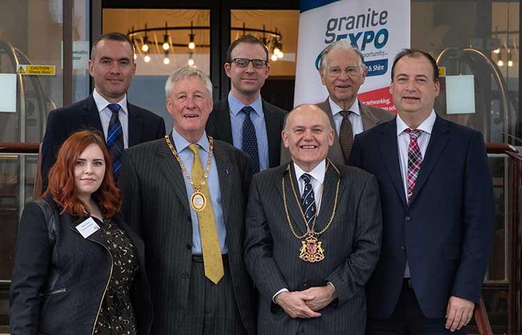 From left: Chelcie Grant (Genesis Personnel), Graeme McCaw (Double Tree by Hilton Aberdeen Treetops), Bill Howatson (Provost of Aberdeenshire), Gavin Henry (SureVoIP), Barney Crockett (Lord Provost of Aberdeen), Charles Skene (Skene Group) and Brett Jackson (Granite PR)