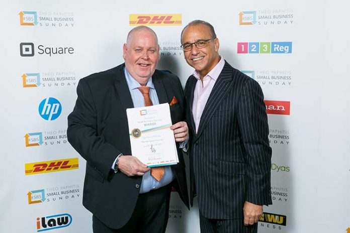 Alister Clark (left) with Theo Paphitis at a previous awards ceremony