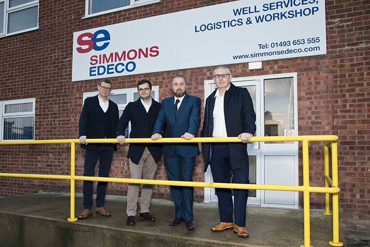 (from left to right) Stuart Ferguson, CEO (FrontRow Energy Technology Group), Craig Morrice, Finance Director (Well-Centric), Brian Kelly, General Manager (Simmons Edeco) and Gary Smart, CEO (Well-Centric)