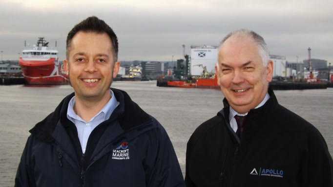 Michael Cowlam (left), technical director of Seacroft Marine Consultants with Nigel Robinson, marine and renewables managing director at Apollo