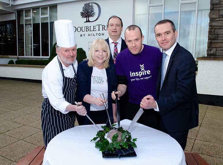 from left, are: Ronnie Burnett (DoubleTree by Hilton Aberdeen Treetops), Phyllis Stuart (British Airways), Brett Jackson (Granite PR), Andrew Reid (Inspire) and Graeme McCaw (DoubleTree by Hilton Aberdeen Treetops)