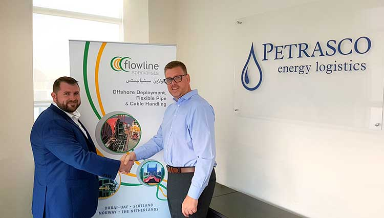 Graeme Chalmers (left), group operations manager at Flowline Specialists DMCC, and Kevin Buchan, managing director of Petrasco