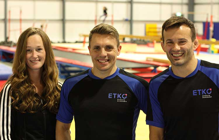 ETKO Sports Academy directors, Laura and Vio Etko with health and safety/development manager, Dan Griffiths (centre)