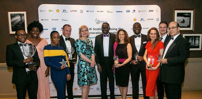 Flashback to the winners at the AFBE-UK Scotland Awards in December 2018 - From left: Adam Ayinla (Shell), Mopelola Oyetunji (CAN Offshore), Findlay Anderson (BHGE), Deirdre Michie, CEO Oil and Gas UK, Dr Ollie Folayan AFBE-UK Scotland, Claire Hayward BP, Samuel Elegbede WSP, Sarah Weihmann University of Aberdeen and Azzam Younes ABB