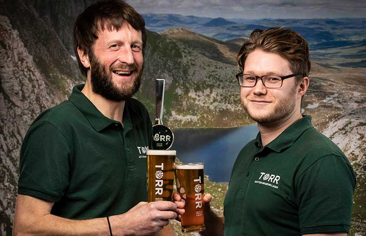 TORR Lager brewer Neil Stirton (left) and business development manager Philip Anderson (right)