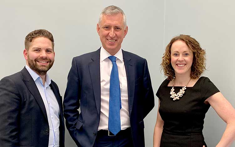 From left - Ross McKenzie, David McEwing and Catriona Smith