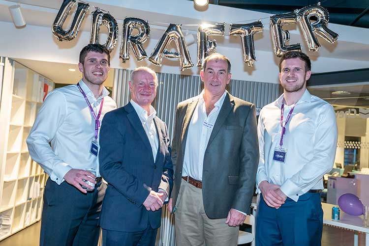 (L-R), Managing Director of Udrafter Daryll Morrow, Alec Carstairs, Non-Executive Director of RA International, Mike Wilson, Chairman of Ecosse IP, and Luke Morrow Co-Founder and Director or Udrafter.