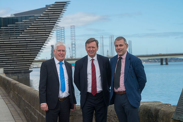 L-R – Callum Falconer, CEO of Dundeecom; Charles Hammond, Group CEO of Forth Ports; Bill Cattanach, Head of Supply Chain of Oil and Gas Authority
