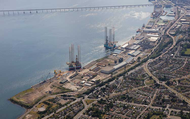Aerial view of the Port of Dundee