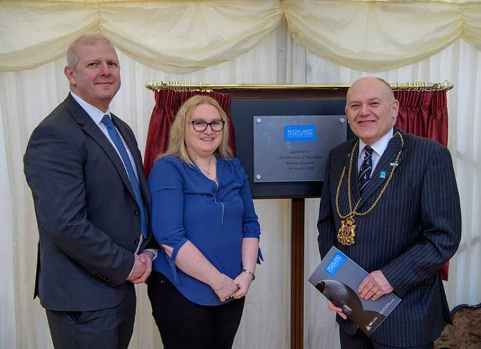Left to right: Chris Byles FCCA, Group Finance Director, Highland Electroplaters. Lisa Baird, Works Manager, Highland Electroplaters. The Lord Provost of Aberdeen, Councillor Barney Crockett.