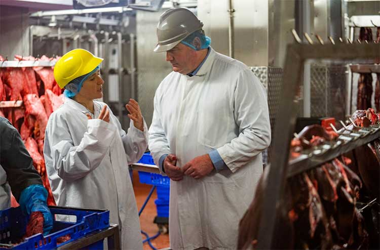 Minister for Rural Affairs and the Natural Environment Mairi Gougeon on a tour of the Kepak factory, Portlethen, along with site manager Alan Brown