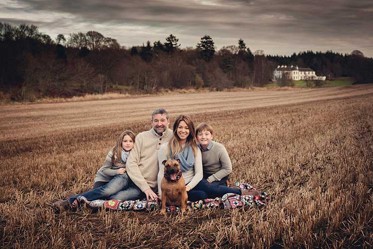 Tim and Stef Erbe with children Alex and Amy and their dog, Ginger