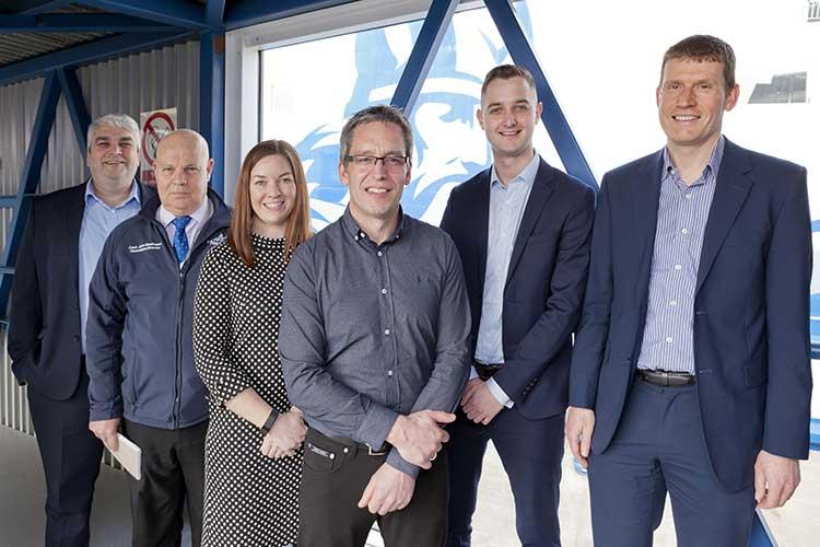 (L-R): Seumas Campbell, John Strathearn (NorthLink Ferries), Nicola Currie, Jason Moir (XIC), Callum Cruickshank and Craig Donoghue (One Stop Waste Solutions)