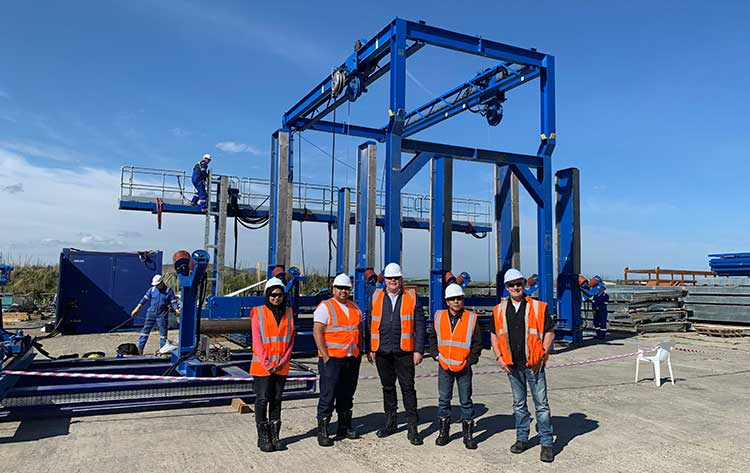 Visitors from Vestigo and Alam Maritim Resources Berhad with Cortez Subsea's Modular Pipelay System (MPS) in Boyndie