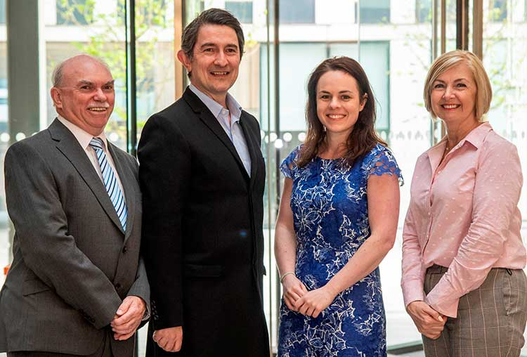 From left - Stuart Yuill (Director at DSL) , Andrew Kinsler (Operations Director at SMS) , Digital Economy Minister Kate Forbes MSP, Liz McCutcheon (Project Manager at LESL)
