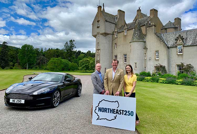 Left to right - Laurie Piper, Tourism Operations Manager at Moray Speyside Tourism, Guy Macpherson-Grant, Director of North East 250, and Jo Robinson, VisitScotland Regional Director. Photo credit Sally Gale and North East 250