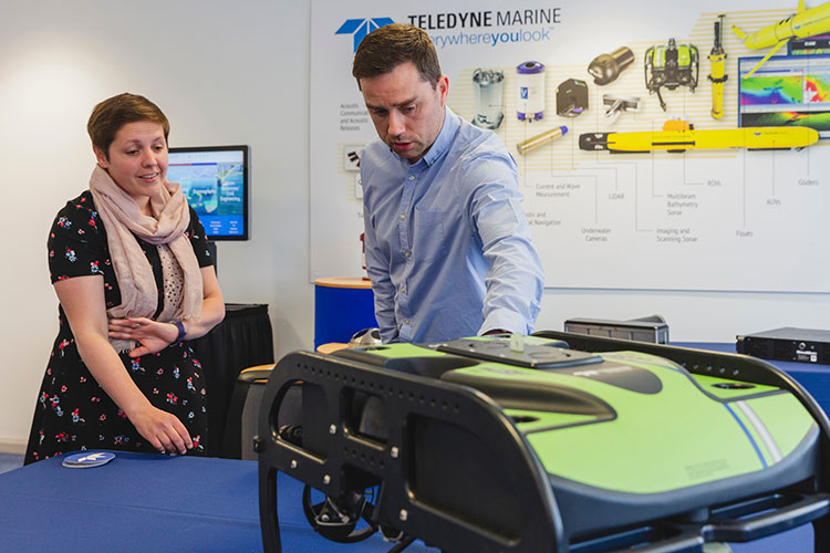 From left - Kirsty Blackman, MP and Michael Parkin, Head of Business Operations for Teledyne Marine