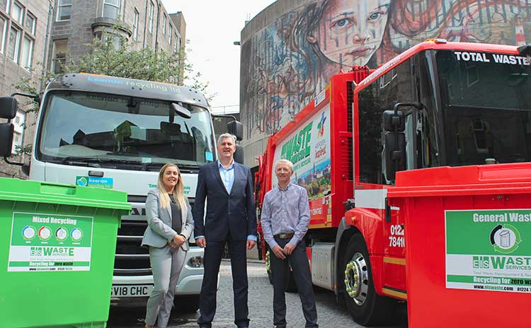Left to right: Sara Borthwick (Keenan Recycling Account Manager) , Innes Walker (Aberdeen Inspired City Centre Manager), Donald Smith (EIS Waste Services Business Development Manager).
