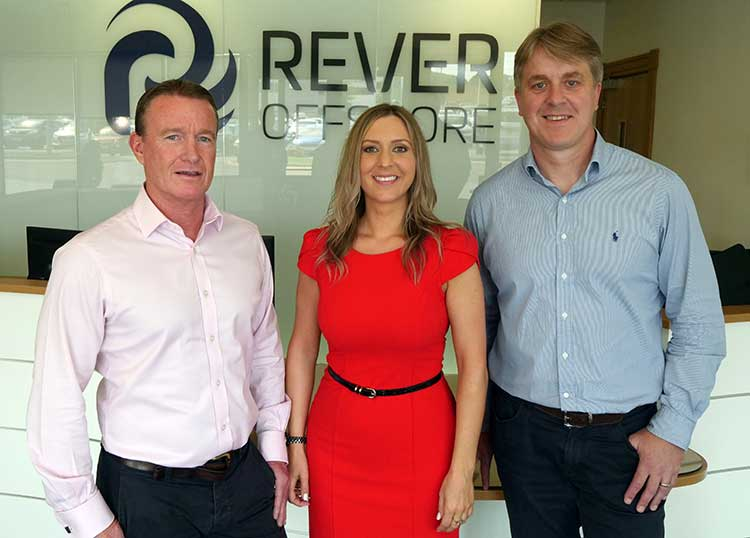 l-r Mike Eriksen, Commercial Director, RelyOn Nutec UK, Louise Taylor, Head of TMS, RelyOn Nutec UK and Nathan Calvert, Competency & Training Manager, Rever Offshore