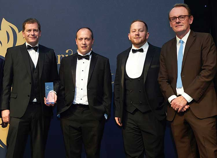 From left, Simon Cowie, Greg Houston and Mark Rhynas – of Infinity Partnership, and TV personality and comedian Sean Lock, the host at the 2019 British Accountancy Awards in London.