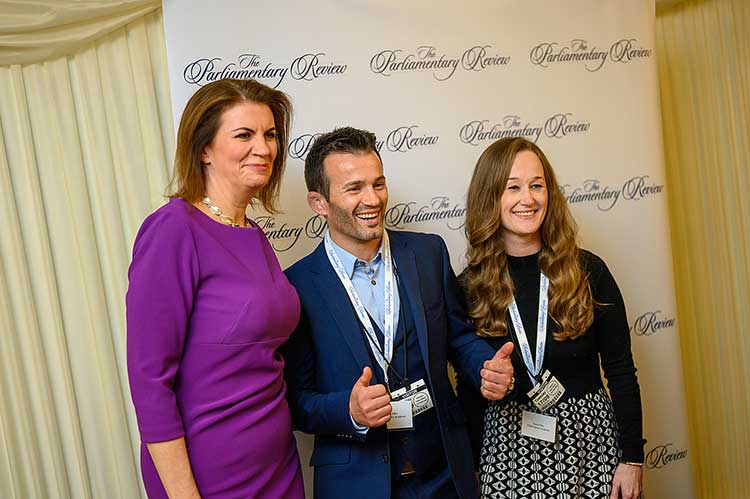 Julia Hartley-Brewer with Vio and Laura Etko at the launch of The Parliamentary Review 2019