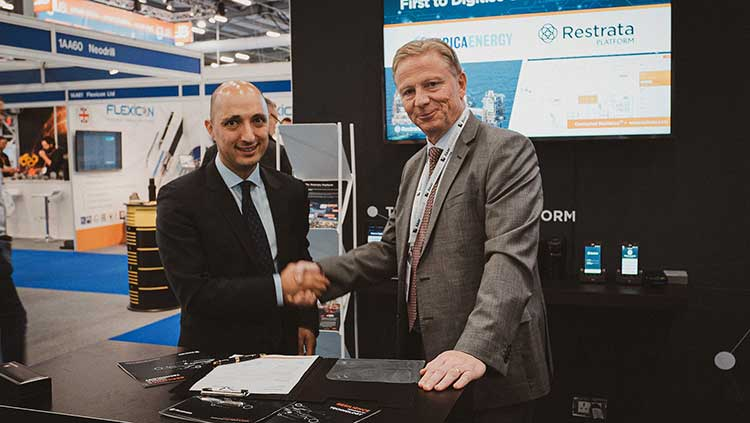 From left - Restrata CEO Botan Osman and Serica Energy CEO Mitch Flegg