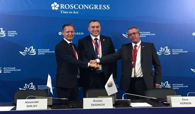 Left to right: President of INTRA Services Alexander Shilov, Sakhalin Energy CEO Roman Dashkov, STATS Group Technical Adviser – Global BD Support, Dave Vernon