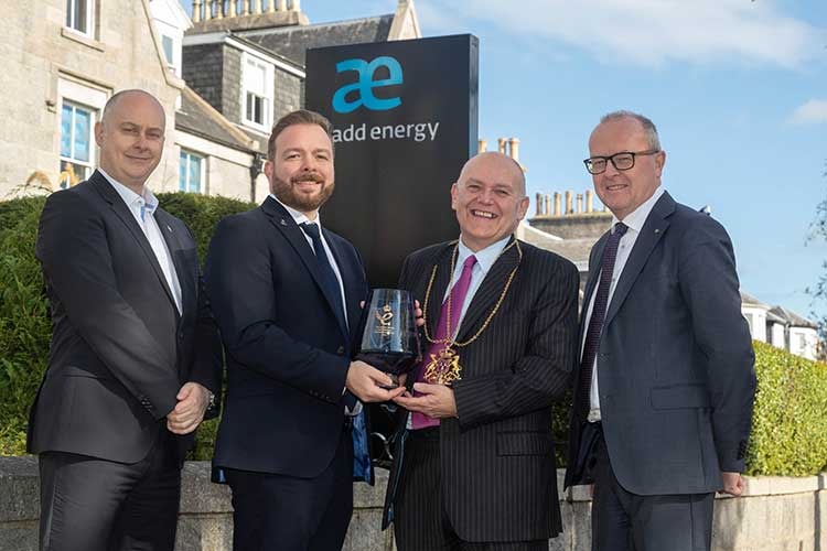 Damon Bowler, Add Energy AIM's Vice President; Peter Adam, Add Energy AIM's Executive Vice President; Lord-Lieutenant, Barney Crocket and Chief Executive of Add Energy Dr. Ole B Rygg.