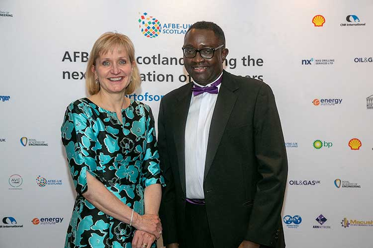 OGUK chief executive Deirdre Michie with Dr Ollie Folayan, chair of Aberdeen-based AFBE-UK Scotland