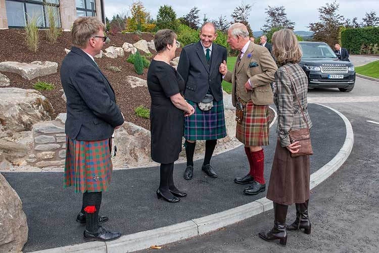 Left to right - Ewan Riddoch, Elaine Donald, Willie Donald, The Duke of Rothesay and Lady Kinghorn