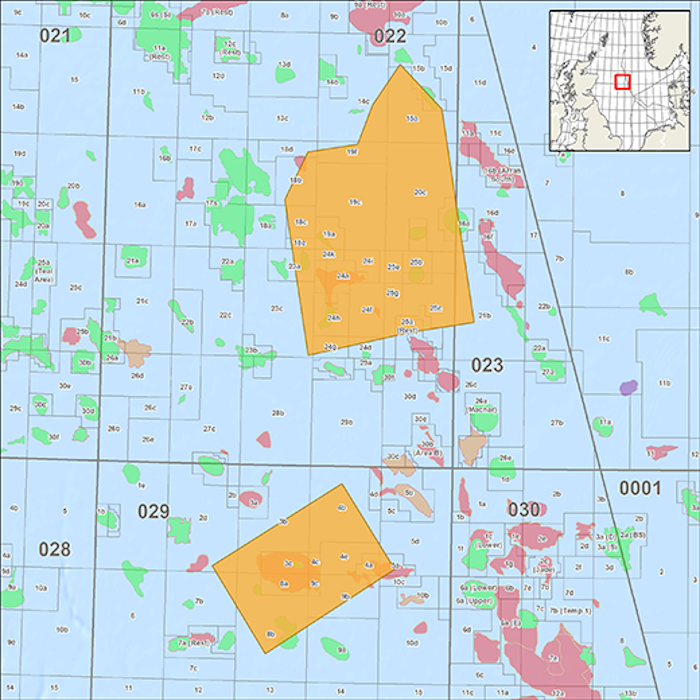 Map showing location of CGG's OBN Cornerstone 2020 survey in the UK Central North Sea (courtesy of CGG Multi-Client)